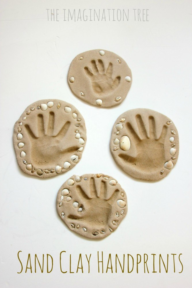 Sand-clay-handprint-keepsakes-craft-667x1000 Make a beach keepsake for all the family.